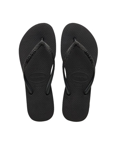 HAVAIANAS SLIM GLITTER WOMENS FLIP FLOPS. BLACK from peaknation.co.uk