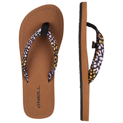 O'NEILL WOVEN STRAP SANDALS. WOMENS FLIP FLOPS. BLACK AOP W/PINK from peaknation.co.uk