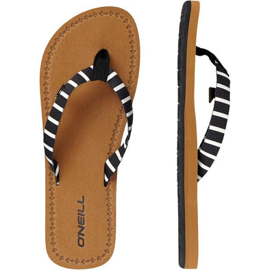 O'NEILL WOVEN STRAP SANDALS. WOMENS FLIP FLOPS. BLACK AOP W/WHITE from peaknation.co.uk