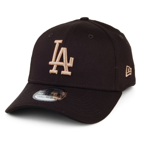 NEW ERA LEAGUE ESSENTIAL 39THIRTY FITTED CAP. LOS ANGELES DODGERS. BLACK/CAMEL  from peaknation.co.uk