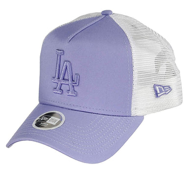 NEW ERA A FRAME TRUCKER. WOMENS ESSENTIAL TRUCKER. LOS ANGELES DODGERS. LAVENDER