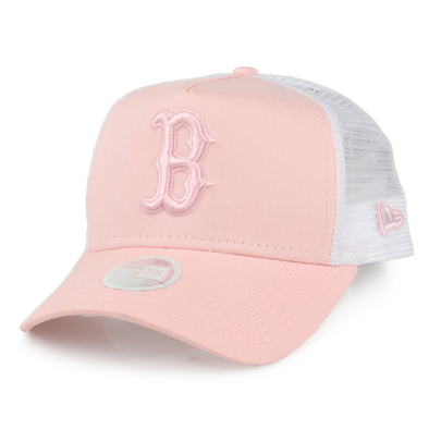 NEW ERA WOMENS ESSENTIAL TRUCKER. BOSTON RED SOX. PEACH from peaknation.co.uk