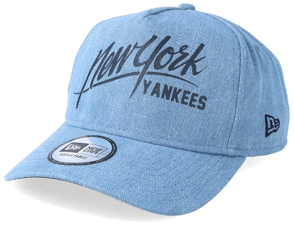 NEW ERA DENIM A FRAME SNAPBACK CAP. NEW YORK YANKEES. SKY BLUE