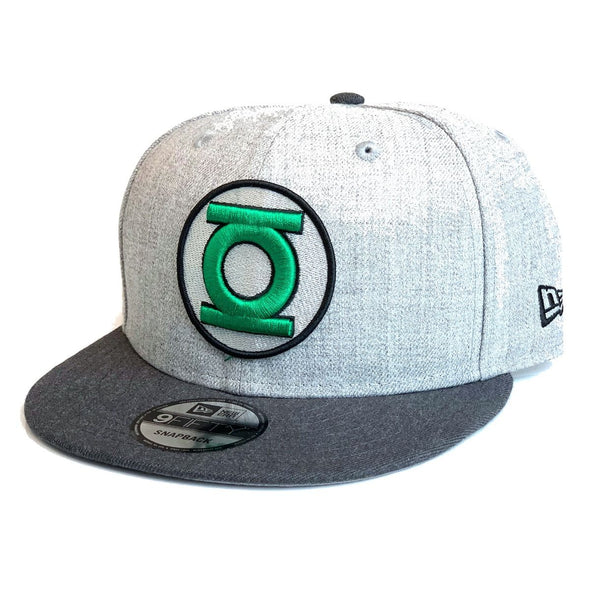 NEW ERA 9FIFTY GREEN LANTERN SNAPBACK CAP. HEATHER GRAPHITE from peaknation.co.uk