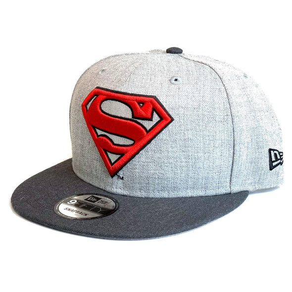 NEW ERA 9FIFTY SUPERMAN SNAPBACK CAP. HEATHER GRAPHITE from peaknation.co.uk