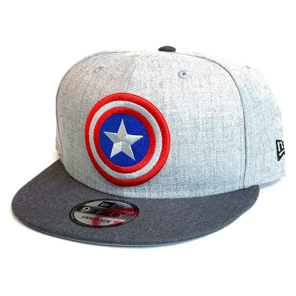NEW ERA 9FIFTY CAPTAIN AMERICA SNAPBACK CAP. HEATHER GRAPHITE from peaknation.co.uk