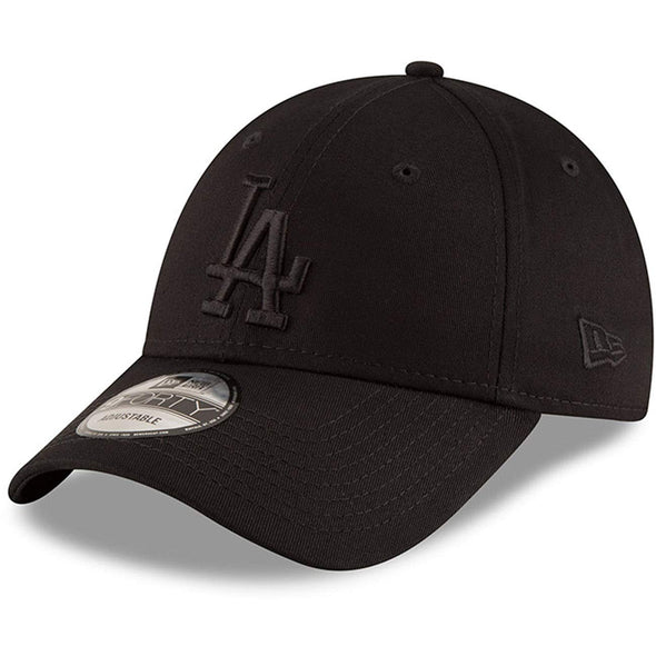 NEW ERA LEAGUE ESSENTIAL 9FORTY BASEBALL CAP. LOS ANGELES DODGERS. BLACK ON BLACK from peaknation.co.uk