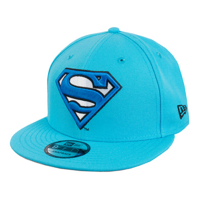 NEW ERA 9FIFTY DC COMICS SUPERMAN SNAPBACK CAP. NEON BLUE from peaknation.co.uk