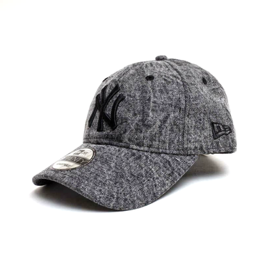 NEW ERA 9TWENTY DIPPED DENIM STRAPBACK CAP. NEW YORK YANKEES. BLACK. from peaknation.co.uk