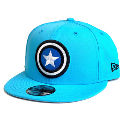 NEW ERA 9FIFTY DC COMICS CAPTAIN AMERICA SNAPBACK CAP. NEON BLUE. from peak nation