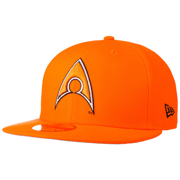 NEW ERA 9FIFTY AQUAMAN SNAPBACK CAP. HUNTER FLAME ORANGE. from peaknation.co.uk