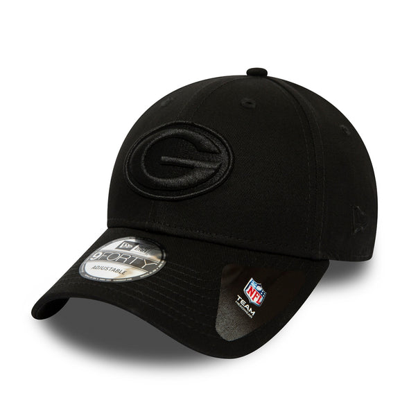 NEW ERA 9FORTY GREEN BAY PACKERS NFL SNAPBACK CAP. BLACK ON BLACK from peaknation.co.uk