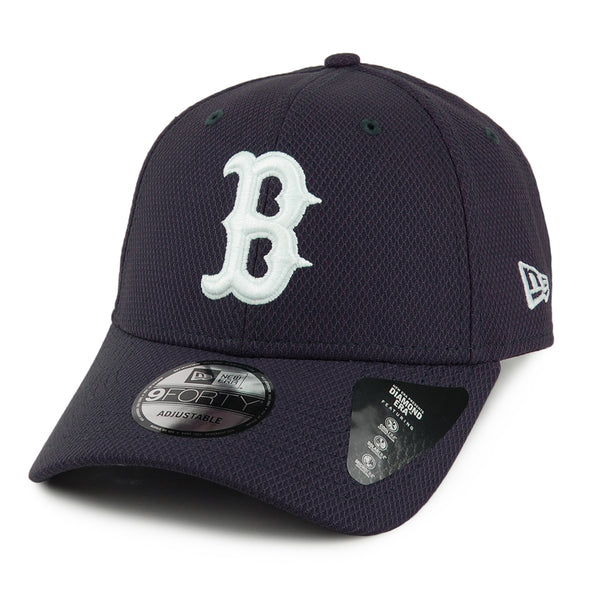 NEW ERA 9FORTY STRAPBACK CAP. DIAMOND ERA. BOSTON RED SOX. NAVY from peak nation