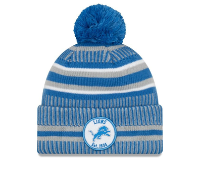 NEW ERA ON FIELD 2019 SPORT KNIT BOBBLE BEANIE. DETROIT LIONS from peaknation.co.uk