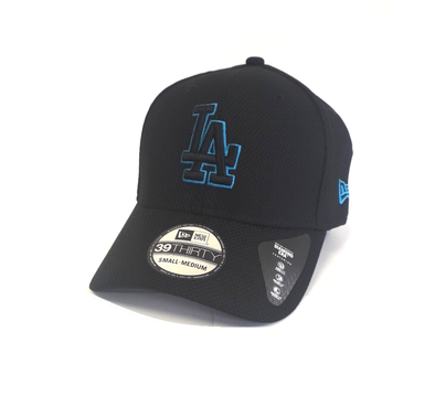 NEW ERA STRETCH TECH POP 39THIRTY FITTED CAP. LOS ANGELES DODGERS. BLACK/BLUE from peaknation.co.uk