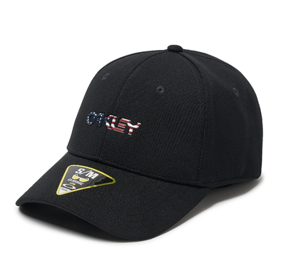 OAKLEY METALLIC CAP. 6 PANEL STRETCH HAT BLACK/AMERICAN FLAG. L/XL from peaknation.co.uk