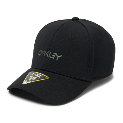 OAKLEY METALLIC CAP. 6 PANEL STRETCH HAT BLACKOUT. L/XL from peaknation.co.uk