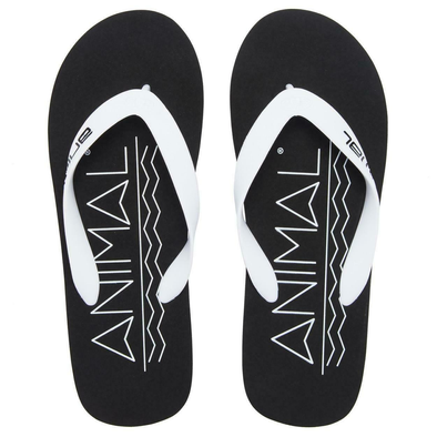 ANIMAL MENS COSTAZ LOGO FLIP FLOPS. BLACK