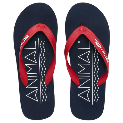 ANIMAL MENS COSTAZ LOGO FLIP FLOPS. DARK NAVY