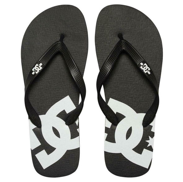 DC SPRAY MENS FLIP FLOPS. BLACK/BLACK/WHITE (BLW)