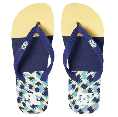 DC SPRAY GRAFFIK MENS FLIP FLOPS. BLUE/YELLOW (BYL)