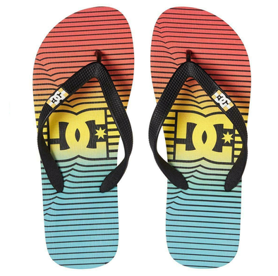 DC SPRAY GRAFFIK MENS FLIP FLOPS. STRIPE CITRUS/OLYMPIAN BLUE (COS)