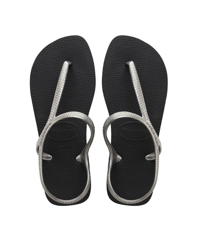 HAVAIANAS FLASH URBAN WOMENS SANDALS. BLACK/SILVER