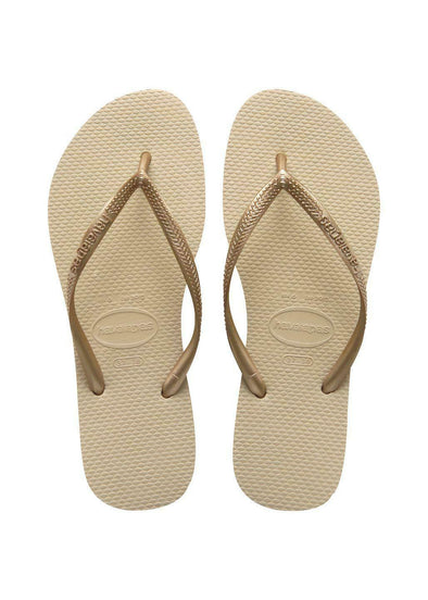 HAVAIANAS KIDS SLIM FLIP FLOPS. Sand Grey/Light Golden