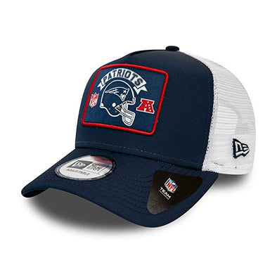 NEW ERA ADJUSTABLE CAP. NEW ENGLAND PATRIOTS WORDMARK TRUCKER. NAVY/WHITE