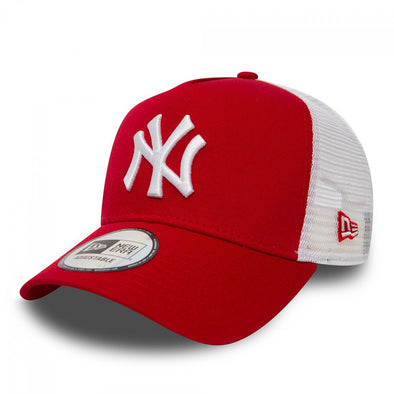 New Era - Clean Trucker Cap. NEW YORK YANKEES. SCARLET/WHITE