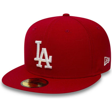 NEW ERA 59FIFTY FITTED CAP. LOS ANGELES DODGERS. SCARLET/WHITE