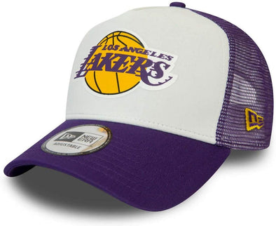 NEW ERA ADJUSTABLE TRUCKER. LA LAKERS TEAM COLOUR BLOCK WHITE