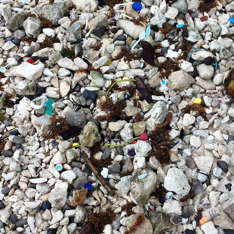 Plastic rubbish on a beach