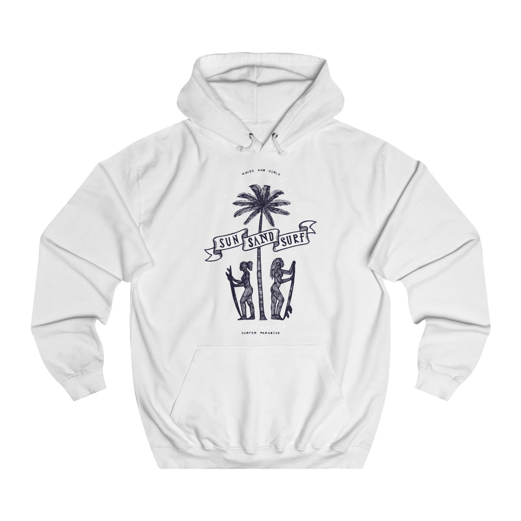 Arctic White | Sun & Sand College Hoodie - Style has no boundaries.com