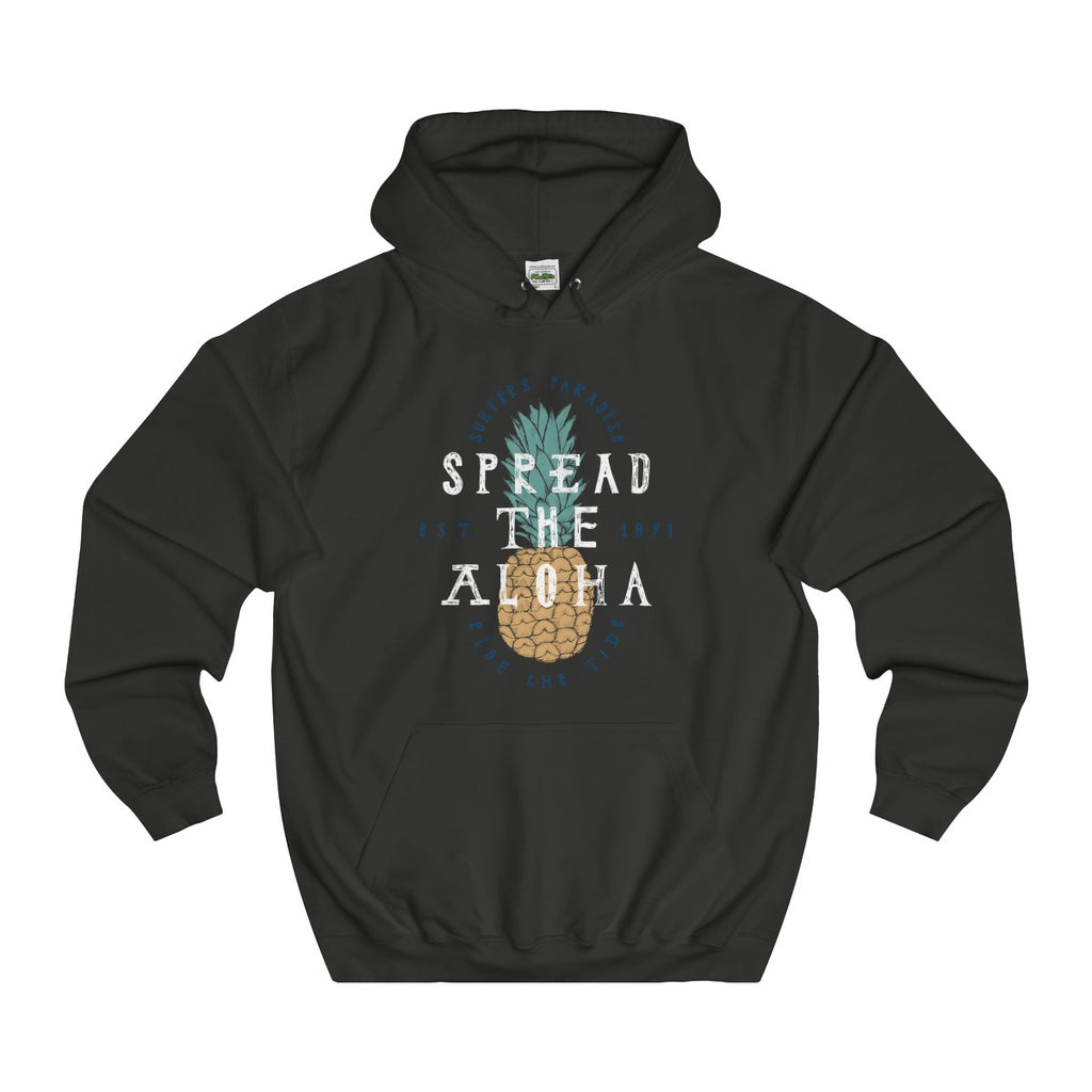 Jet Black | Pineapple Aloha College Hoodie - Style has no boundaries.com