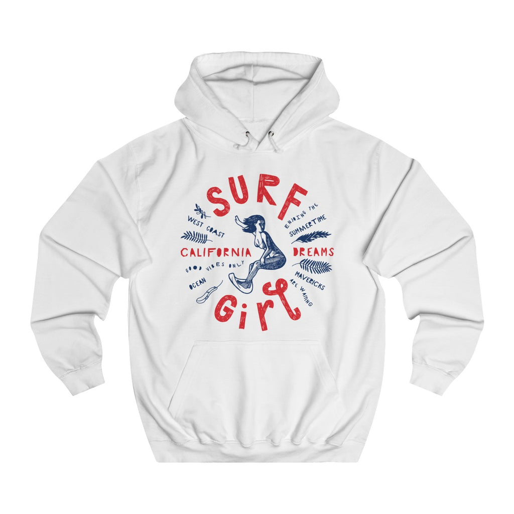 Arctic White | Surf Girl College Hoodie - Style has no boundaries.com