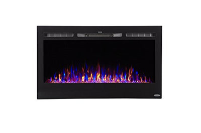 "Touchstone Sideline 36"" Recessed Electric Fireplace with Heater - Black"