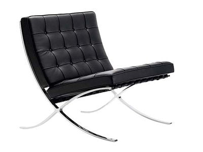 Barcelona Style Modern Pavilion Chair Couch Sofa - High Quality Leather with Stainless Steel Frame - in Color Black
