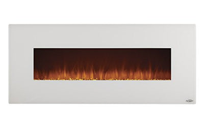 Touchstone Ivory Wall-Hanging Heated Electric Fireplace - 50-Inch Wide, Log or Crystal Flame - 1500W - White