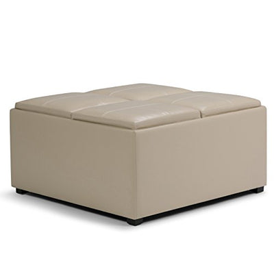 Simpli Home Avalon Coffee Table Storage Ottoman with 4 Serving Trays, Satin Cream