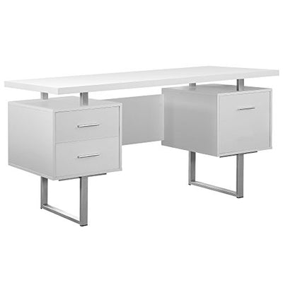 Monarch Specialties I 7081 White Hollow-Core/Silver Metal Office Desk, 60""