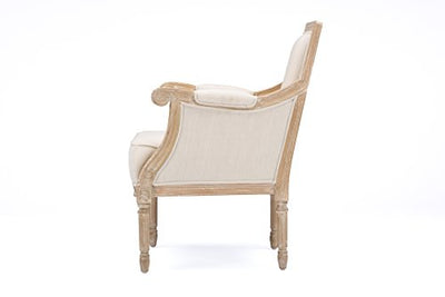 Baxton Studio Chavanon Wood & Linen Traditional French Accent Chair, Light Beige