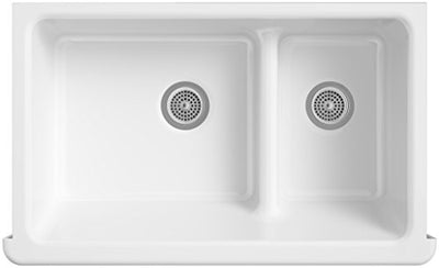 Kohler K-6427-96 Whitehaven Smart Divide Self-Trimming Under-Mount Apron-Front Double-Bowl Kitchen Sink with Tall Apron, 35-1/2-Inch X 21-9/16-Inch X 9-5/8-Inch, Biscuit