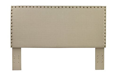 Furniture of America Petunia Flax Fabric Headboard with Nail Head Trim, Full/Queen, Ivory