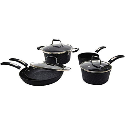 Starfrit The Rock 030930 8 Piece Forged Aluminum Cookware Set with Bakelite Handle
