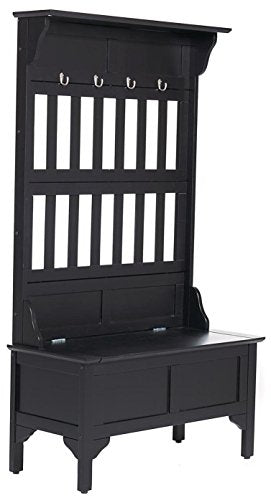 Home Styles 5650-49 Full Hall Tree and Storage Bench, Black Finish