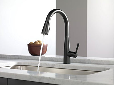 Delta Faucet 9113-BL-DST Essa Single Handle Pull-Down Kitchen Faucet with Magnatite Docking and Touch-Clean Spray Head, Matte Black
