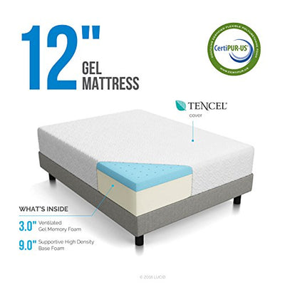 Lucid 12 Inch Memory Foam Mattress, Triple-Layer, CertiPUR-US Certified, 25-Year Warranty, Twin X-Large