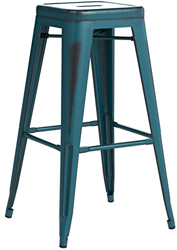 "Flash Furniture High Backless Distressed Kelly Metal Indoor Barstool (4 Pack), 30"", Blue"