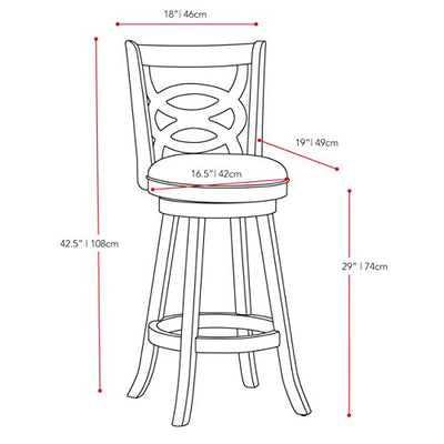 CorLiving DWG-819-B Woodgrove 43-Inch Cappuccino Wood Barstool with Leatherette Seat, Set of 2